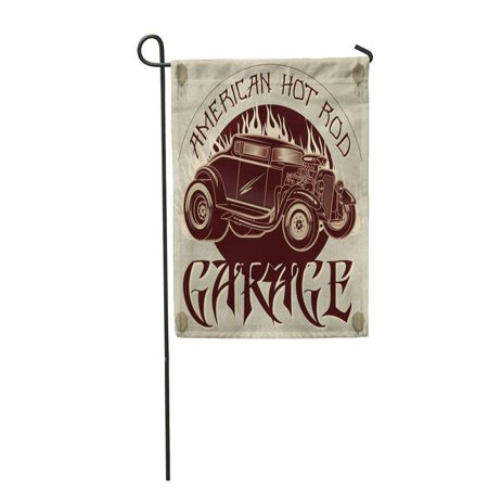 LADDKE Speed American Hot Rod Garage Vintage of Custom Old School Car with Flames Auto Garden Flag Decorative Flag House Banner 12x18 inch ()