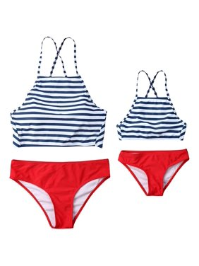 a03d6054424b1 Product Image Mommy and Me Matching Swimwear Striped Strappy Crop  Top&Bottom Two-Piece Bathing Suit Family Simsuits