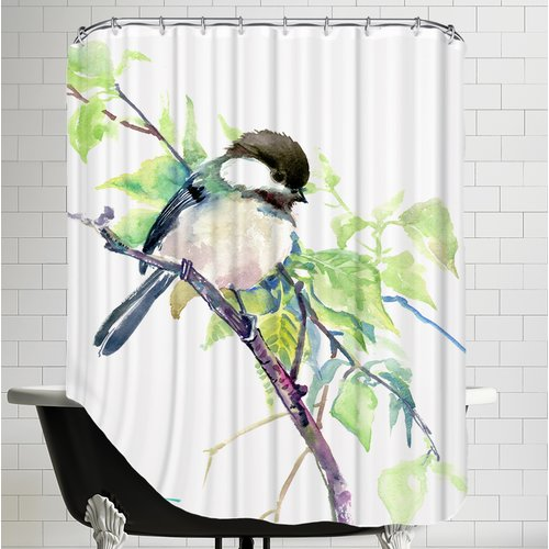 East Urban Home Chickadee Shower Curtain
