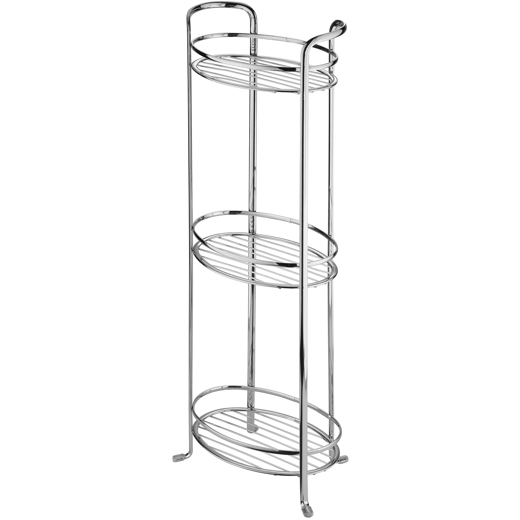 InterDesign Axis Free Standing Bathroom Storage Shelves, for Towels, Soap, Candles, Tissues, Lotion, Accessories, 3 Tier, Chrome