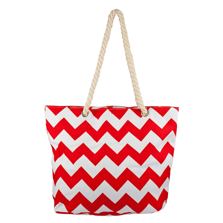 - Lux Accessories Womens Extra Large Zip Up Beach Tote Bag Orange Red White