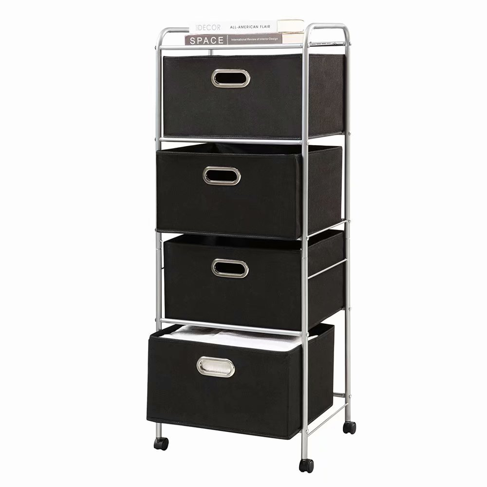Four-tier Non-woven Fabric Drawer Black Carbon Steel Stoving Varnish Pipes Storage Cart Black