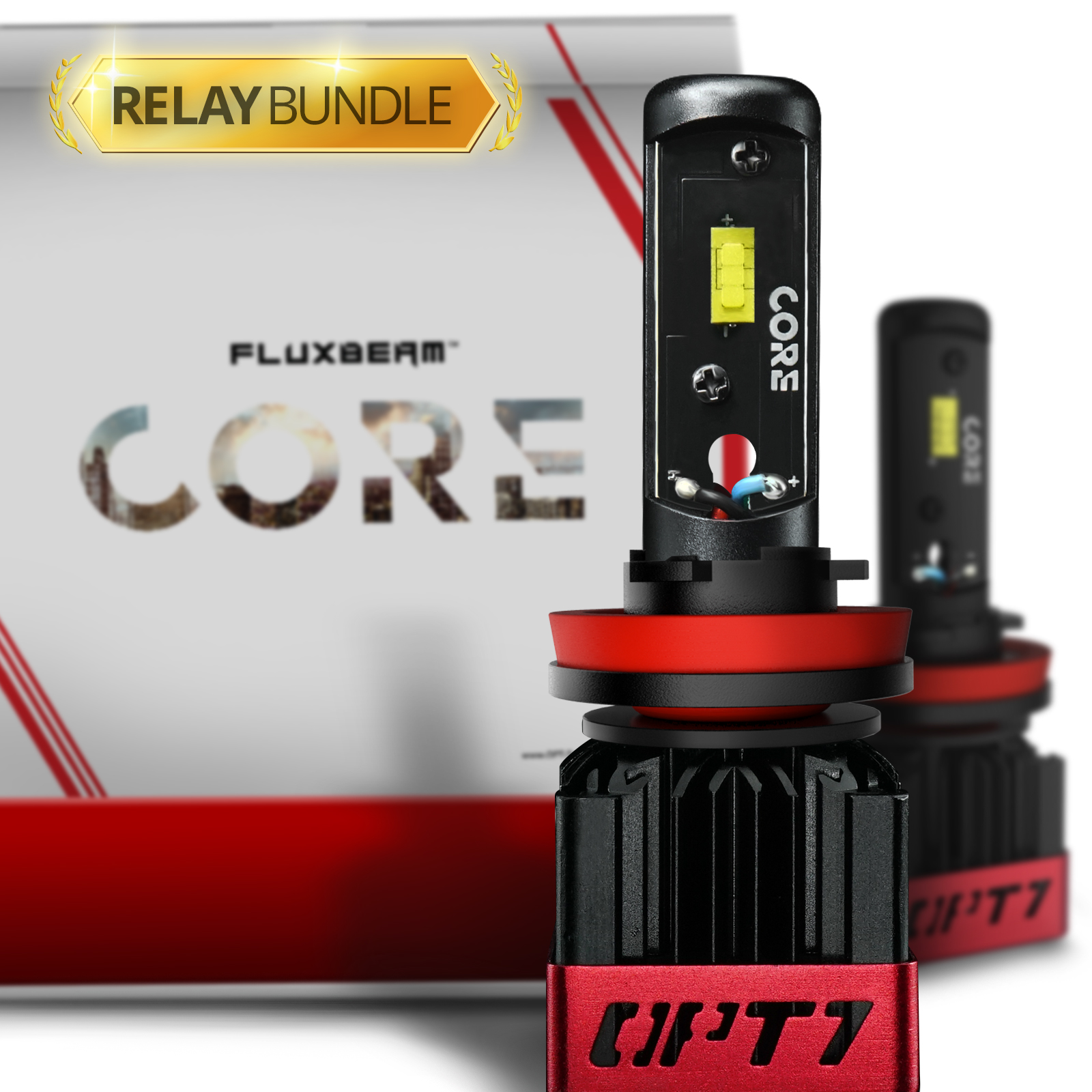 OPT7 Fluxbeam CORE H11 H8 H9 H16 LED Headlight Bulbs with Relay Bundle -FX-7500 CREE Chip Plug-N-Play Conversion Kit - 6,000LM 6000K Cool White - Built. Not Bought.