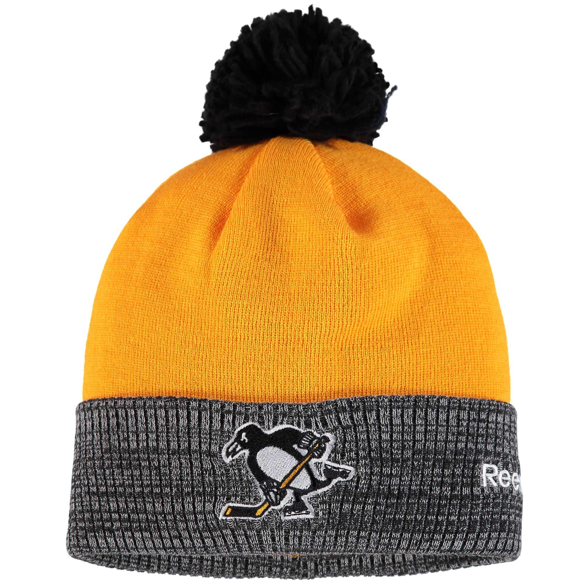 Pittsburgh Penguins Reebok 2017 Stadium Series Goalie Cuffed Knit Hat With Pom Yellow Heather Gray OSFA by REEBOK/SLD/ADIDAS INDY