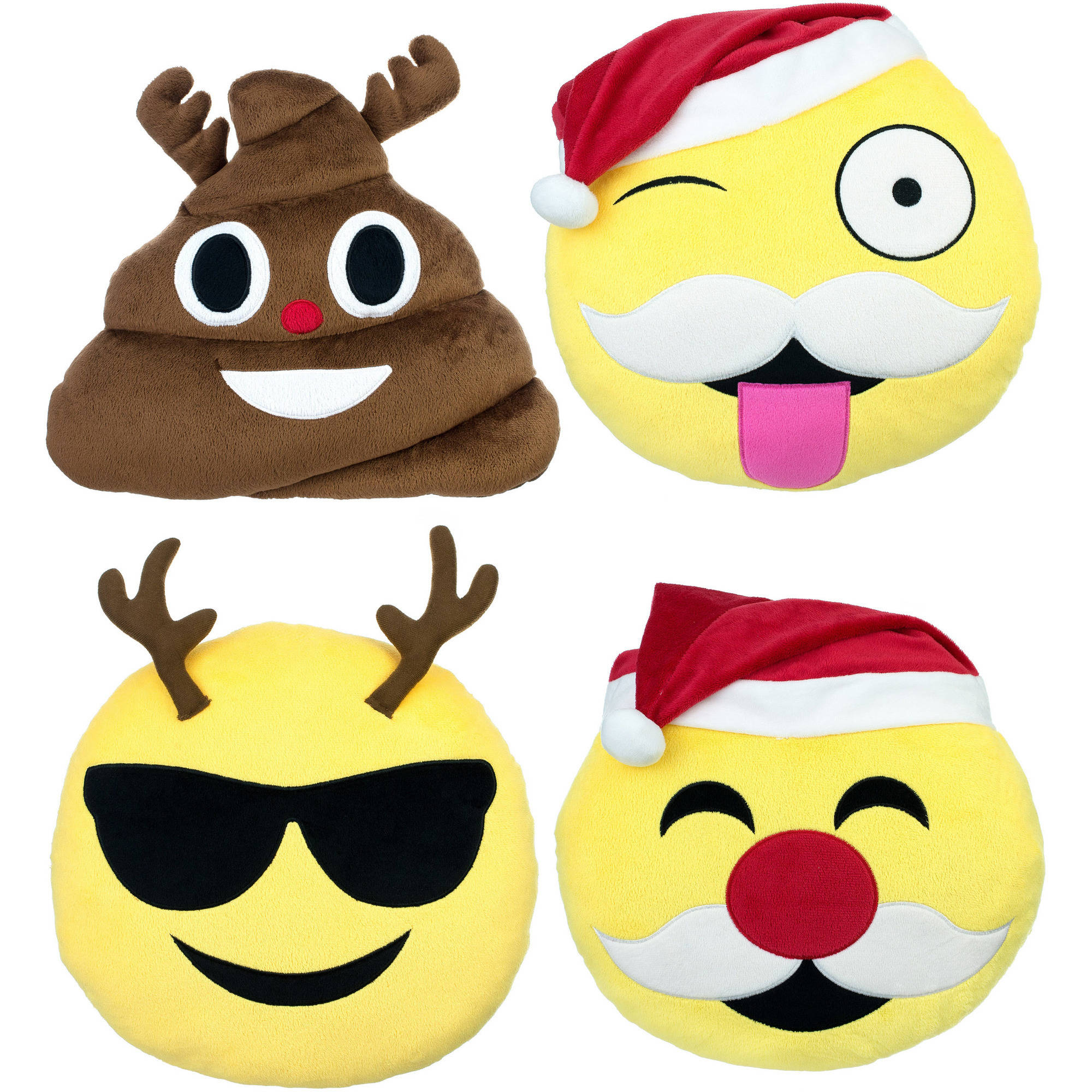 Emoji Expressions Holiday Pillows, 4-Pack