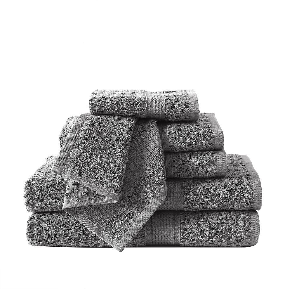 VCNY Home 6-Piece Solid Color Cotton Towel Set, Multiple Colors Available