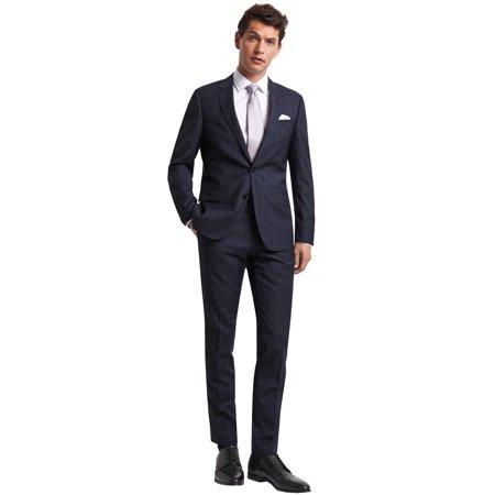 Hugo Boss Mens James Sharp Two-Tone Windowpane Super 100s Wool Suit 40L Navy