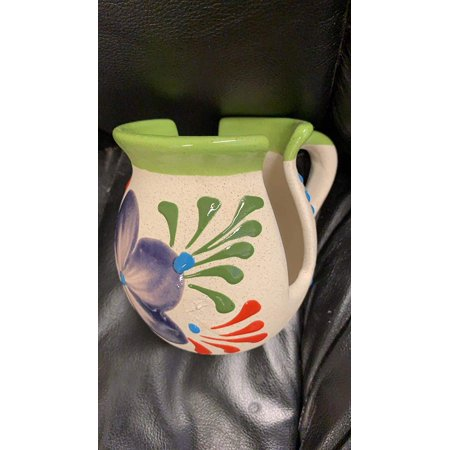 Made in Mexico Barro Mexican Clay Servilletero Espiga Napkin Holder White Glazed Hand Painted Made