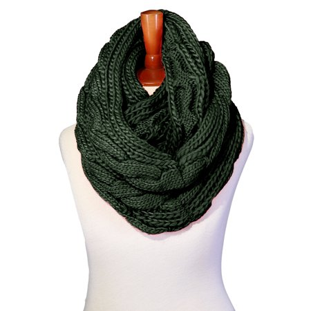 Basico Winter Chunky Knitted Infinity Scarf Circle Loop Various Colors (SF1603) (Green Chunky Scarves)