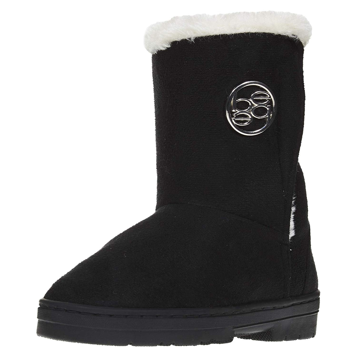 11, Black Fashion Simple Kids Shoes Cute Slip-on Girls Youth Faux Fur Interior Winter Snow Boots New Without Box