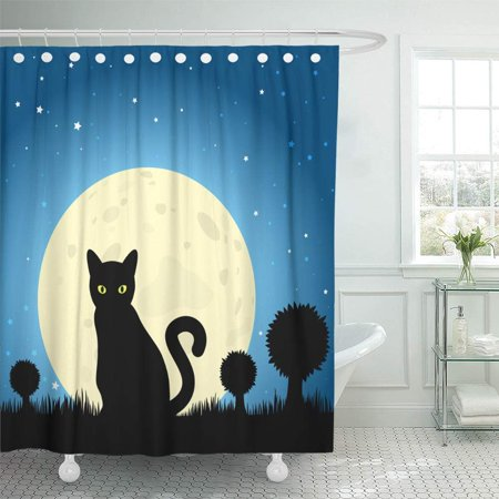Halloween Window Silhouettes Cat Eyes (PKNMT Lucky Halloween Black Cat Silhouette Against Moon Night Sky Unlucky Dark Eyes Feline Shower Curtain Bath Curtain 66x72)