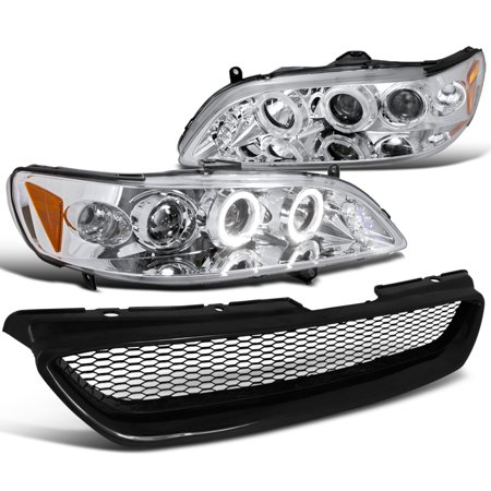 Spec-D Tuning For 1998-2002 Honda Accord Lx Ex Jdm Projector Headlights Chrome Hood Grille Guard 1998 1999 2000 2001 2002