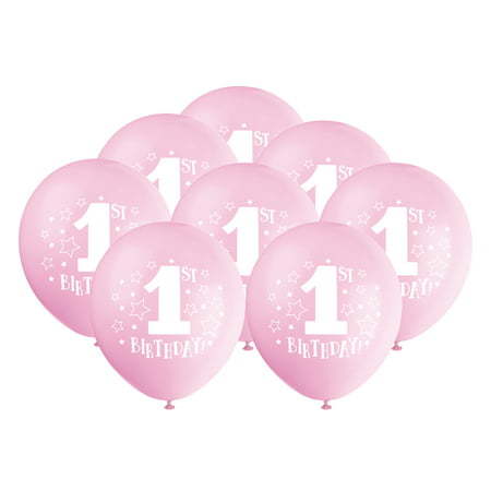 Party Themes For Baby Girl First Birthday (Latex Stars Girl 1st Birthday Balloons, Light Pink, 12 in,)