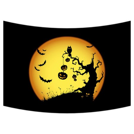 Halloween Living Room Decor (ZKGK Happy Halloween Tapestry Wall Hanging Wall Decor Art for Living Room Bedroom Dorm Cotton Linen Decoration 40x60)