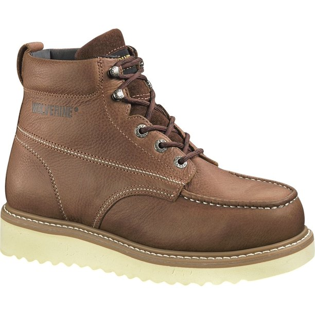 "Wolverine Men's Moc Toe Steel-Toe Wedge 6"" Work Boots"