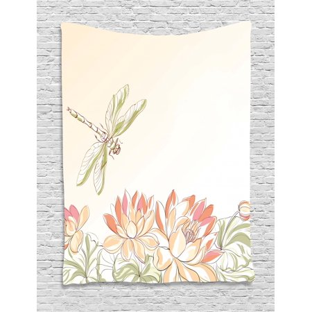 Dragonfly Tapestry, Lotus Flower Field with Dragonfly Flying Oriental Blooms Artful Print, Wall Hanging for Bedroom Living Room Dorm Decor, Cream Peach Coral, by Ambesonne