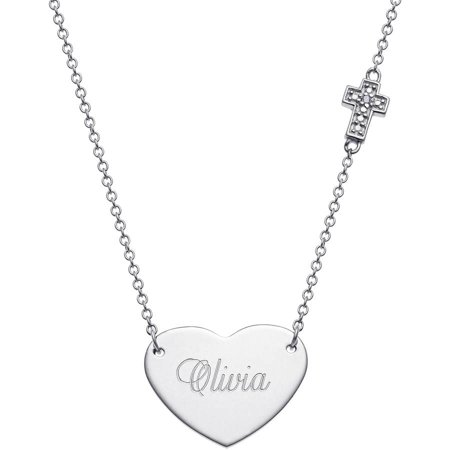 Personalized Diamond Accent Sterling Silver Engraved Heart with Cross Necklace, 16