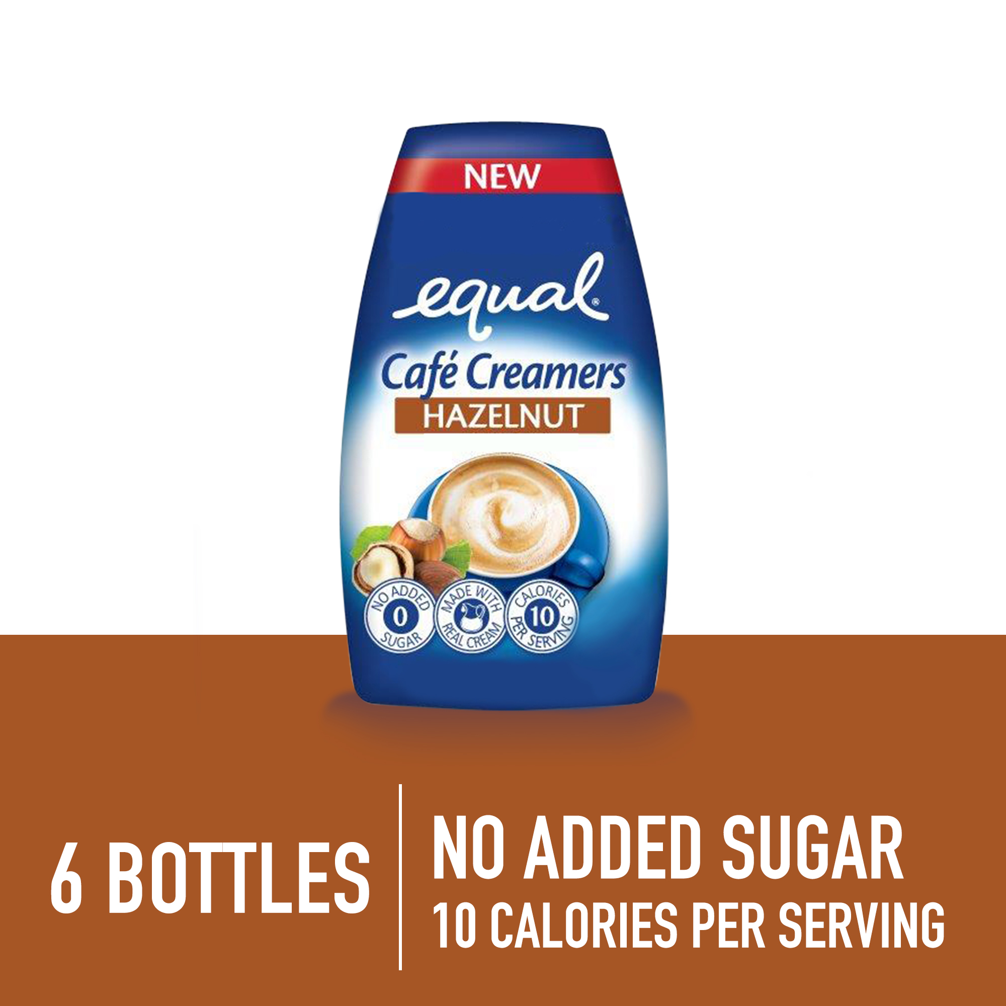 (6 Pack) Equal Cafe Creamers Hazelnut, Low-Calorie Coffee Creamer, 1.62 Fl Oz