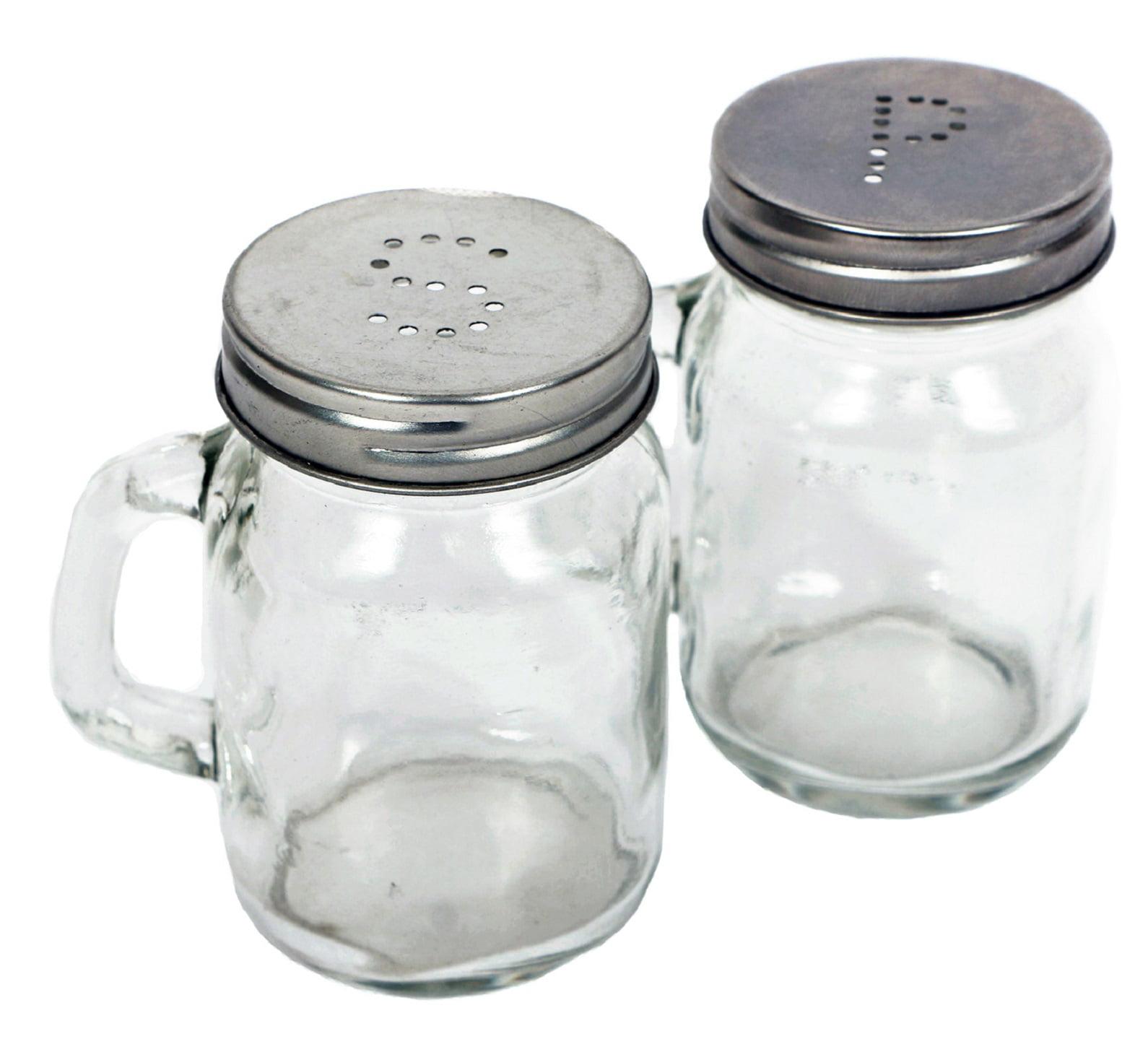 Glass Mason Jars Salt and Pepper Shaker Set  3.5 Inch Kitchen Table Decor
