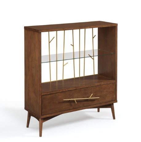 Mid Century Modern Gold Metal Wire Back Display Cabinet Bookshelves with 1 Adjustable Tempered Glass Shelf and 1 Drawer with Solid Wood Legs - Includes Modhaus Living Pen