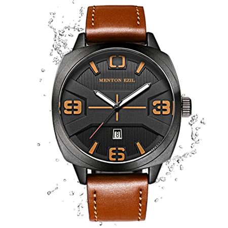 Quartz Ships - Large Mens Quartz Watch-Stylish Brown Leather Strap-Waterproof-Analog-Free Ship