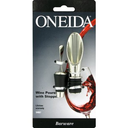 Oneida Wine Pourer with Stopper Polished Nickel Plate Zinc Alloy ()