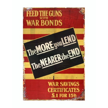 WW1 Feed the guns with war bonds metal tin sign vintage style reproduction 12 x 8 inches - image 3 de 3
