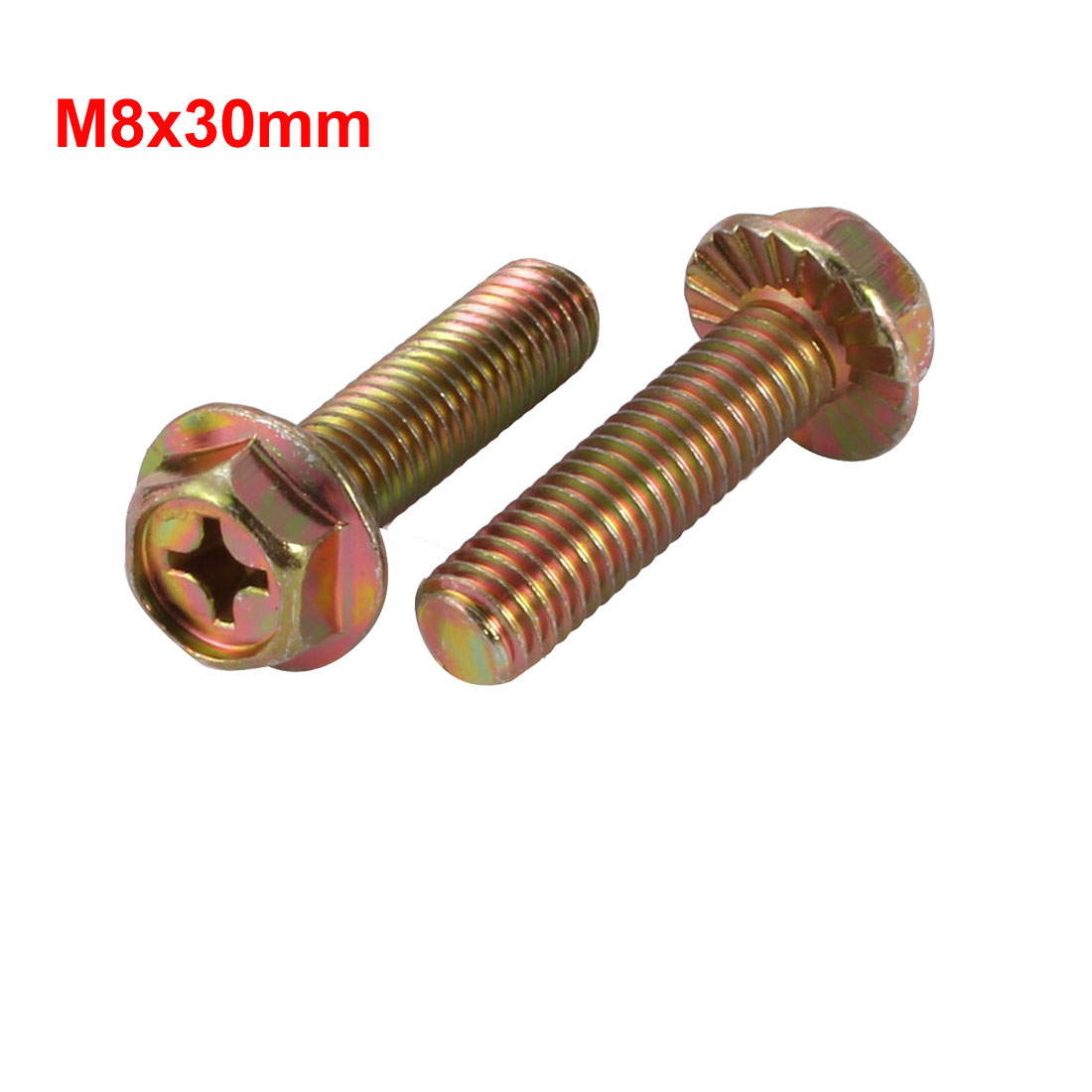 Unique Bargains 16Pcs M8x30mm Yellow Zinc Plated Philips Drive Serrated Flange Hex Head Bolt - image 1 de 2