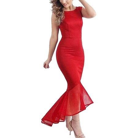 Unique Bargains Women's Mesh Panel Sleeveless Netted Fishtail Bodycon Dress