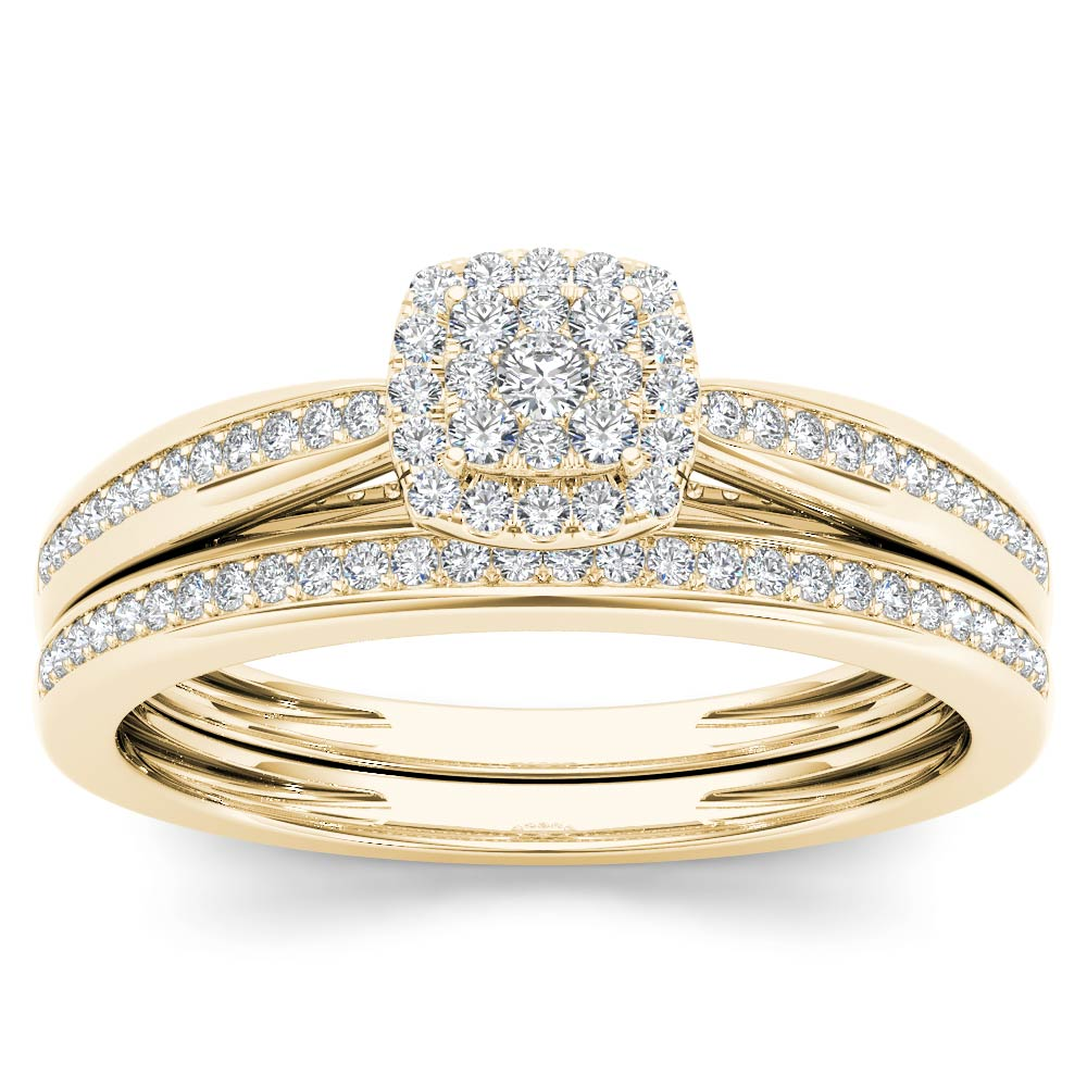 Imperial 1 4 Ct TDW Diamond 10k Rose Gold Cushion Shape Bridal Set by DE COUER NEW YORK LLC