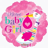 """18"""" Welcome Baby Girl For Baby Shower Pink Foil / Mylar Balloons ( 6 Balloons )"""