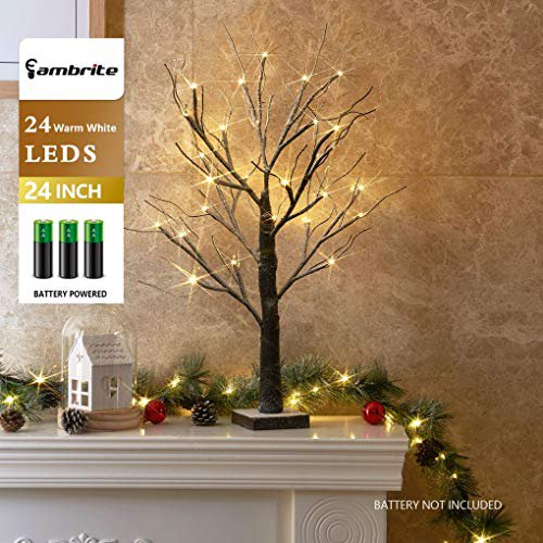 Eambrite Battery Operated 24 Snow Bonsai Tree Lights With 24 Warm White Led For Indoor Use Tabletop Tree Light For Home Decor Walmart Com Walmart Com