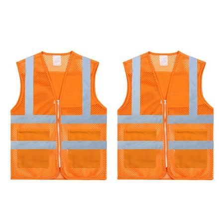 TOPTIE 2 PCS High Visibility Zipper Front Mesh Safety Vest With Pockets, Volunteer Vest-Orange-M
