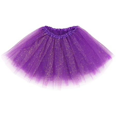 Women's Tulle Ballet Tutu Skirt Great for Running and Races,Dark Purple Sequin