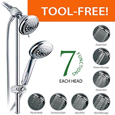 DreamSpa Instant-Mount Drill-Free Height / Angle Adjustable 36-Setting 3-Way Shower Head / Handheld Shower with 22-Inch Stainless Steel Slide Bar, Chrome Finish 36 Modern Slide Bar