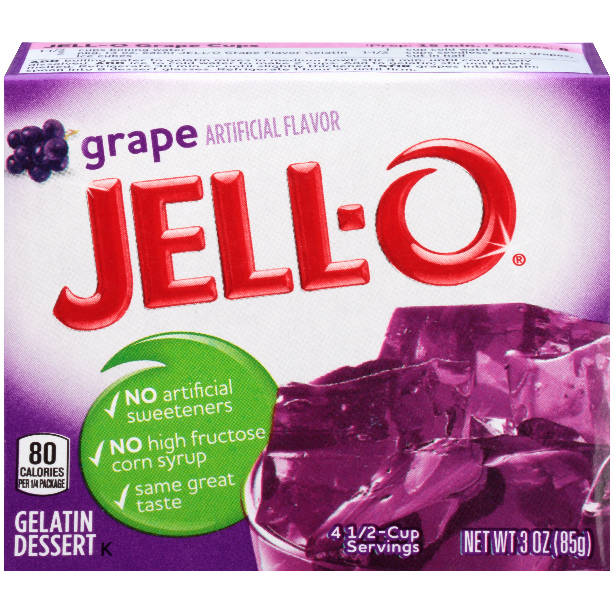 Jell-O Grape Gelatin Dessert Mix 3 oz. Box