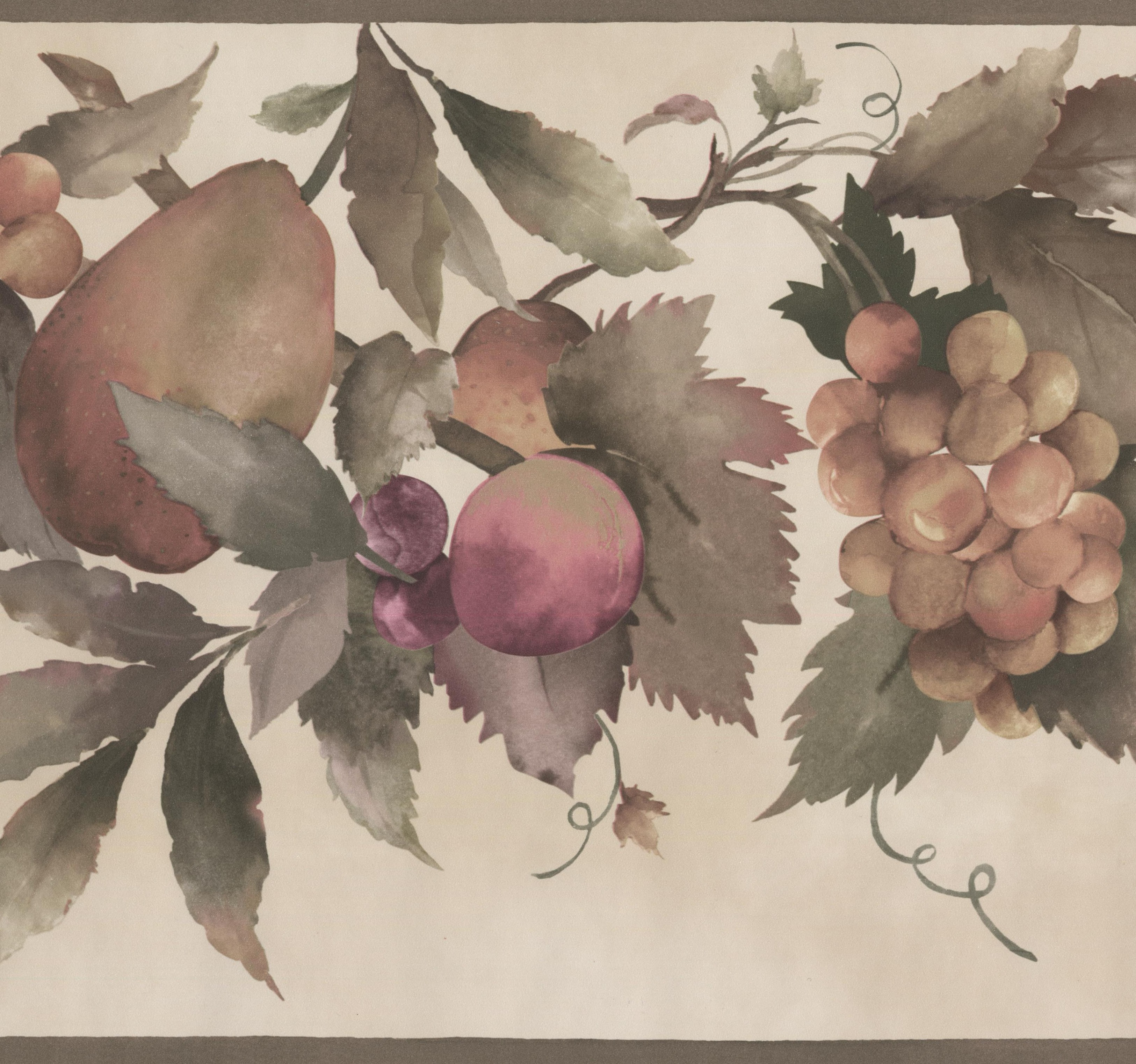 Pear Yellow and Purple Grapes on Vine Wide Tan Wallpaper Border Retro Design, Roll 15' x 10.5'' - image 3 de 3