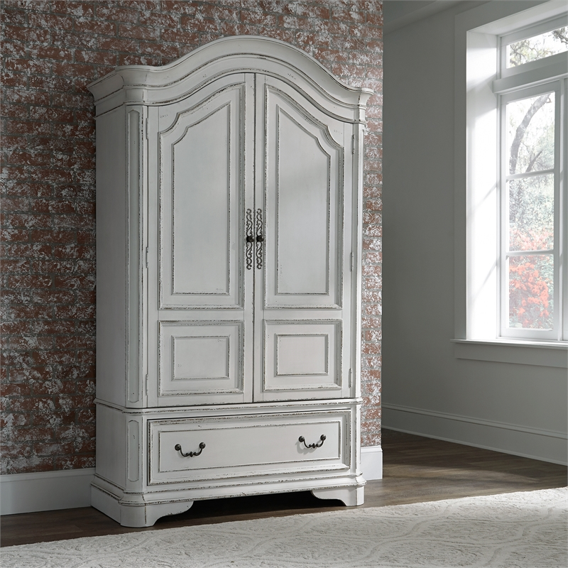 Bedroom Set With Queen Bed And Armoire In Vintage White Walmart Com Walmart Com