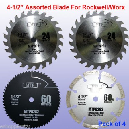 Pack Of 4 Assorted Metal/Wood 4-1/2-Inch 4.5-Inch Circular Saw Blade For Rockwell Compact Rk3441K , WORX