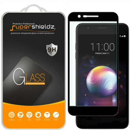 [2-Pack] Supershieldz for LG K30  [Full Screen Coverage] Tempered Glass Screen Protector, Anti-Scratch, Anti-Fingerprint, Bubble Free (Black Frame)