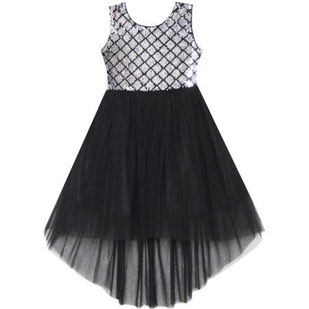 Girls Dress Sequin Mesh Party Wedding Princess Tulle 7