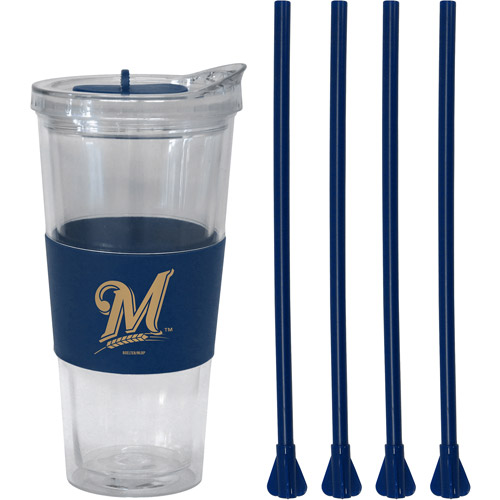 22oz MLB Milwaukee Brewers Slider Top Tumbler with 4 Colored Replacement Straws