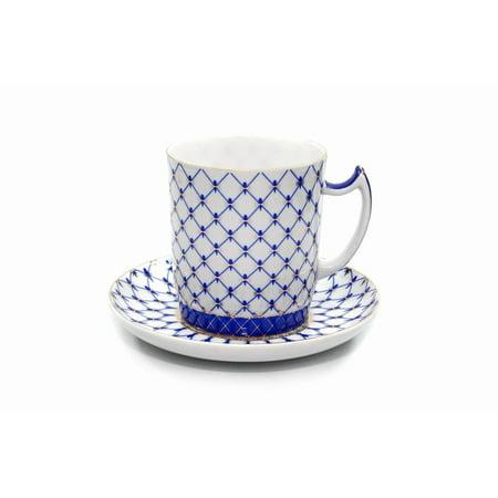 Lomonosov Ornament Tea Cup / Mug 13 Oz, Russian Saint Petersburg Cobalt Blue Net