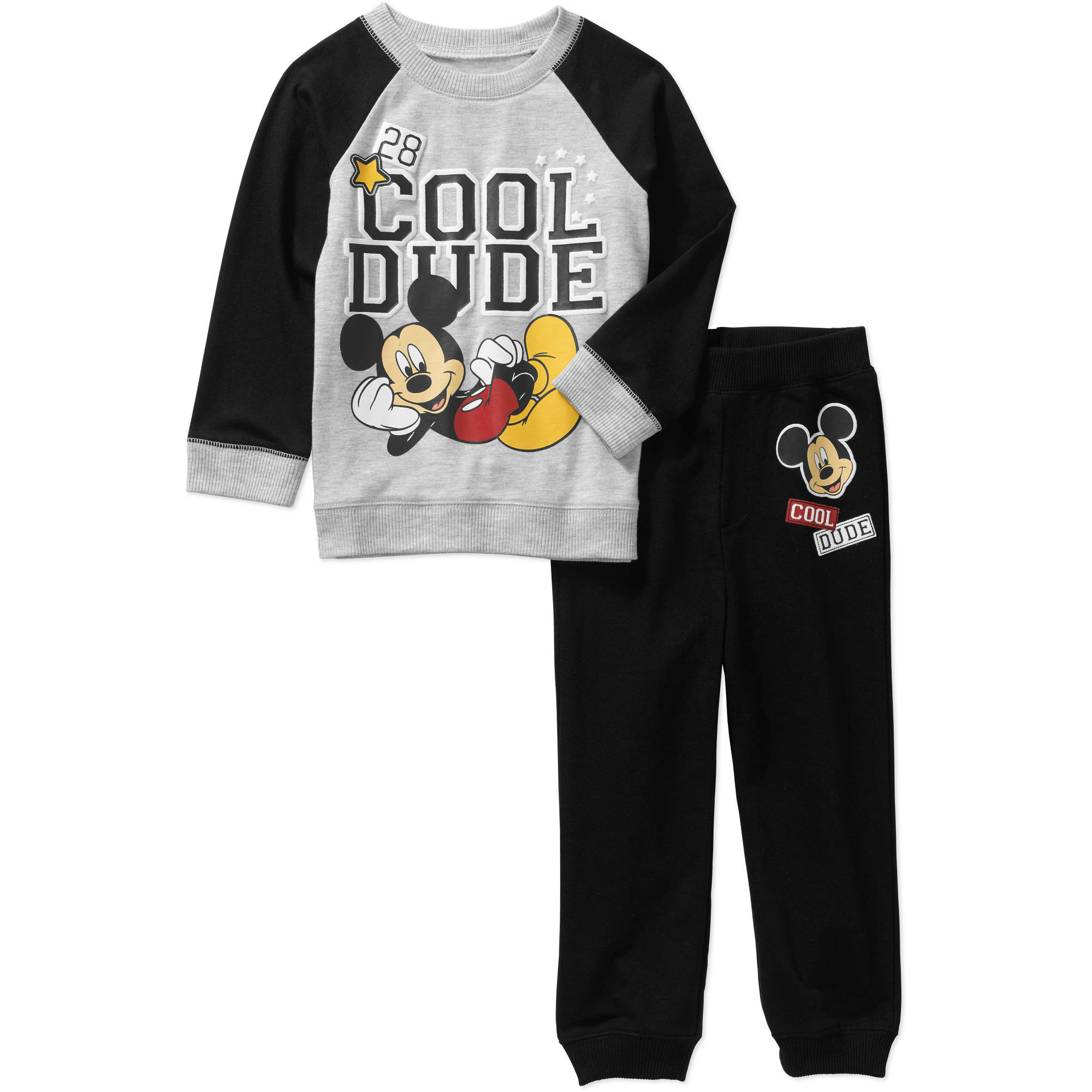 Mickey Mouse Toddler Boys' Jersey Raglan Sweatshirt and French Terry Jogger Pants Outfit Set