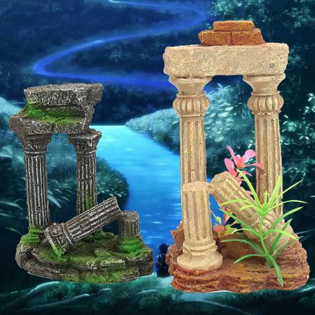 Ancient Roman Ruins Ornament for Aquarium Fish Tank Decoration Terrarium-180 x 65 x 220 mm
