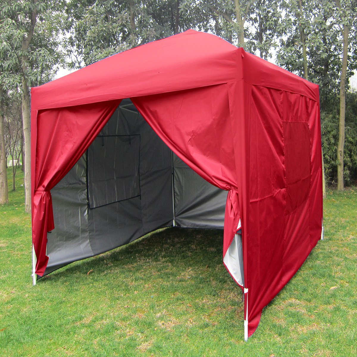 Big Sale!Quictent Privacy 8'x8' EZ Pop Up Party Tent Canopy Gazebo Mesh Curtain 100% Waterproof-7 Colors (Red) by