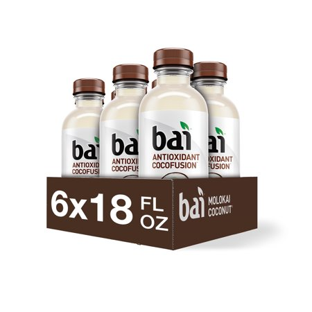 Bai Coconut Flavored Water, Molokai Coconut, Antioxidant Infused Drinks, 18 Fluid Ounce Bottle, 6 count