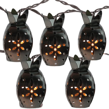 Christmas Pineapple - Set of 10 Distressed Metal Tropical Pineapple Fruit Christmas Lights - 7.5 ft Brown Wire