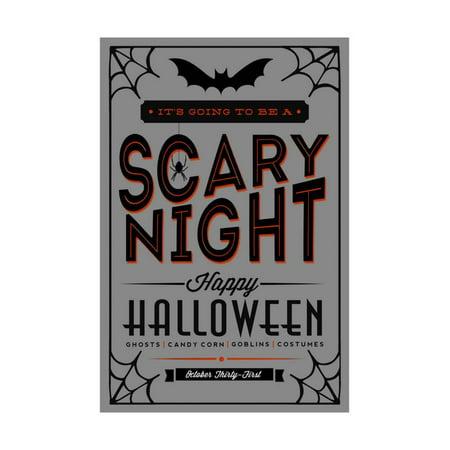 Happy Halloween - Orange and Black Typography Print Wall Art By Lantern Press (Happy Halloween Clip Art)