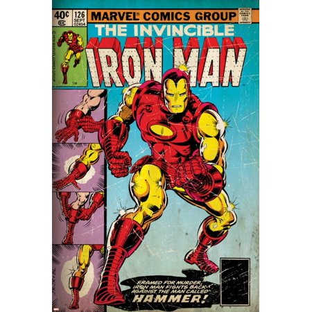 Marvel Comics Retro: The Invincible Iron Man Comic Book Cover No.126, Suiting Up for Battle (aged) Print Wall Art](Retro 12 Red And White)